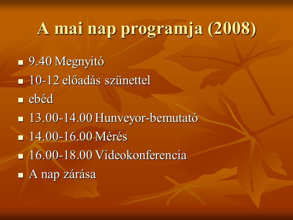 A mai nap programja (2008) 9.40 Megnyitó 9.40 Megnyitó 10-12 előadás szünettel 10-12 előadás szünettel ebéd ebéd 13.00-14.00 Hunveyor-bemutató 13.00-14.00 Hunveyor-bemutató 14.00-16.00 Mérés 14.00-16.00 Mérés 16.00-18.00 Videokonferencia 16.00-18.00 Videokonferencia A nap zárása A nap zárása