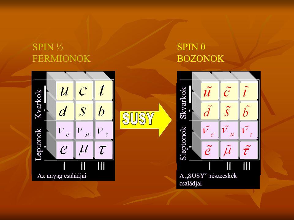 Mi a szuperszimmetria? Kétféle részecske van a természetben: fermion és bozon. A fermionok feles spinűek, és nem lehet azonos állapotban két fermion.