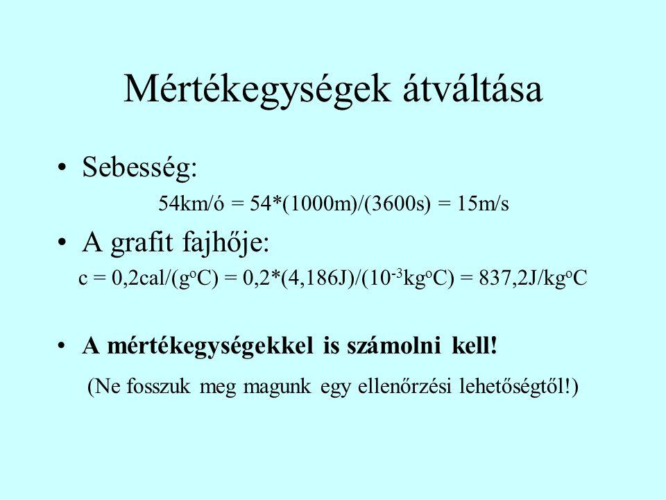 Mértékegységek átváltása Sebesség: 54km/ó = 54*(1000m)/(3600s) = 15m/s A grafit fajhője: c = 0,2cal/(g o C) = 0,2*(4,186J)/(10 -3 kg o C) = 837,2J/kg o C A mértékegységekkel is számolni kell.