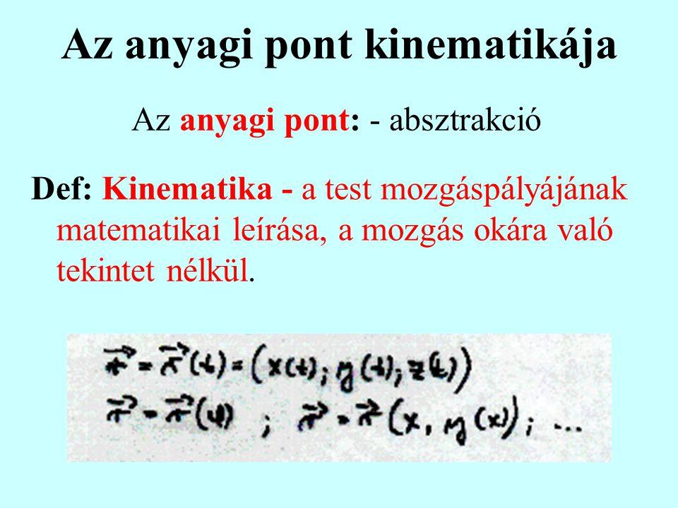 Az anyagi pont kinematikája Def: Kinematika - a test mozgáspályájának matematikai leírása, a mozgás okára való tekintet nélkül.