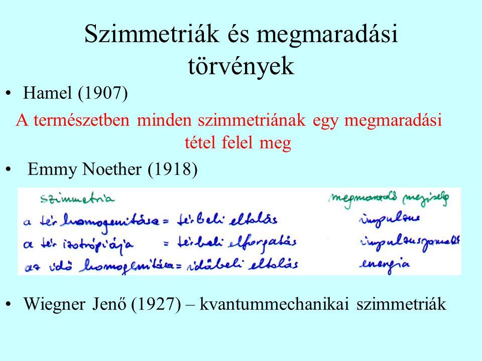 Szimmetriák és megmaradási törvények Hamel (1907) A természetben minden szimmetriának egy megmaradási tétel felel meg Emmy Noether (1918) Wiegner Jenő