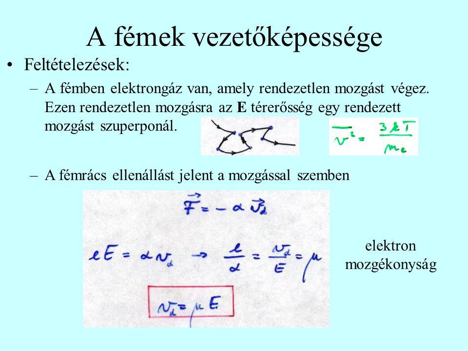 A fémek vezetőképessége Feltételezések: –A fémben elektrongáz van, amely rendezetlen mozgást végez. Ezen rendezetlen mozgásra az E térerősség egy rend