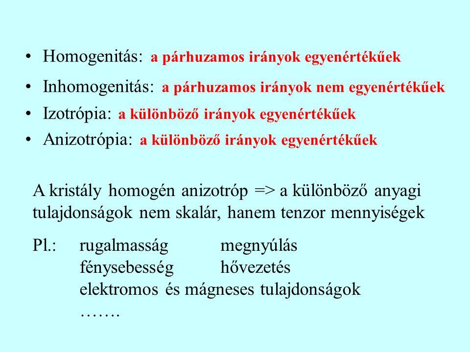 Homogenitás: a párhuzamos irányok egyenértékűek Inhomogenitás: a párhuzamos irányok nem egyenértékűek Izotrópia: a különböző irányok egyenértékűek Ani