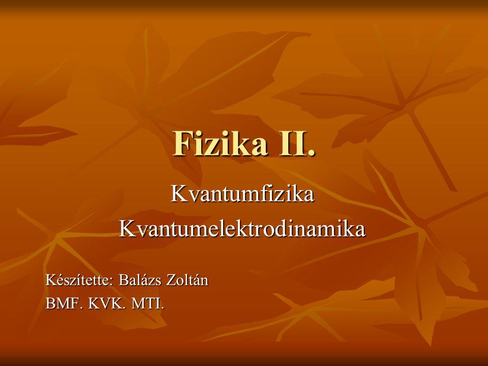 Fizika II. KvantumfizikaKvantumelektrodinamika Készítette: Balázs Zoltán BMF. KVK. MTI.