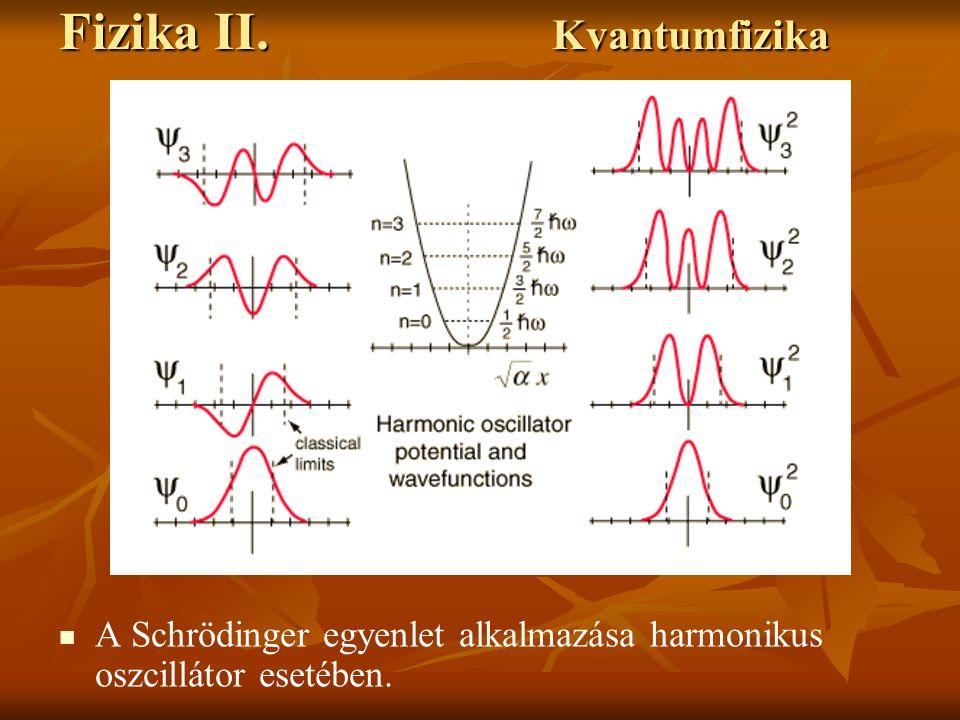 Fizika II. Kvantumfizika A Schrödinger egyenlet alkalmazása harmonikus oszcillátor esetében.