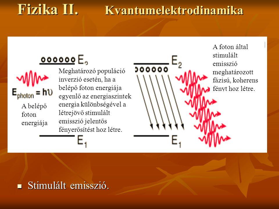 Fizika II. Kvantumelektrodinamika Stimulált emisszió. Stimulált emisszió. A belépő foton energiája Meghatározó populáció inverzió esetén, ha a belépő