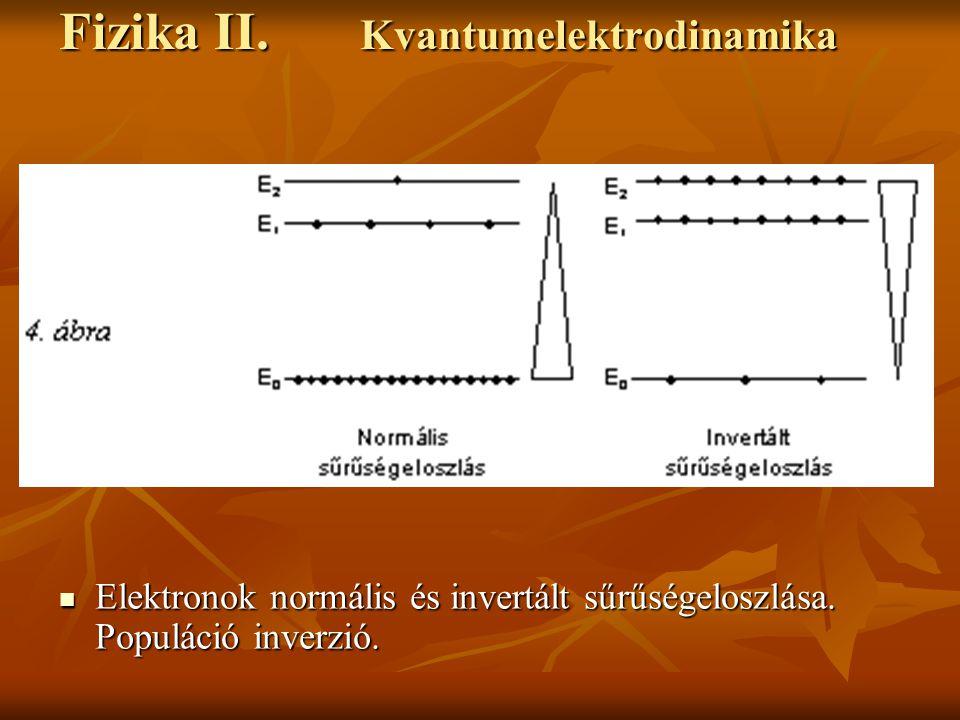 Fizika II. Kvantumelektrodinamika Elektronok normális és invertált sűrűségeloszlása. Populáció inverzió. Elektronok normális és invertált sűrűségelosz