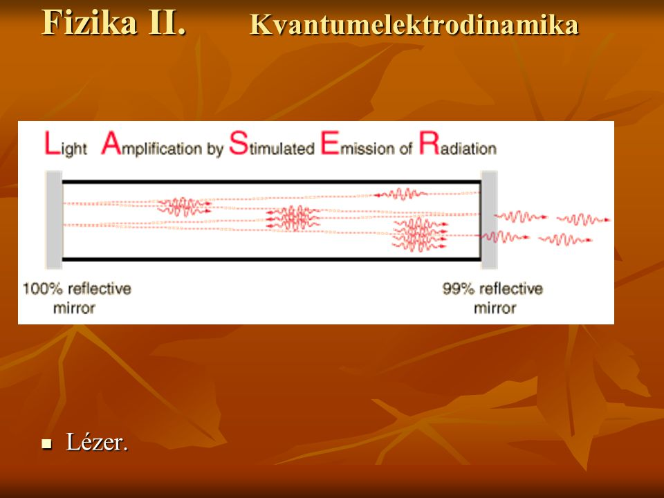 Fizika II. Kvantumelektrodinamika Lézer. Lézer.
