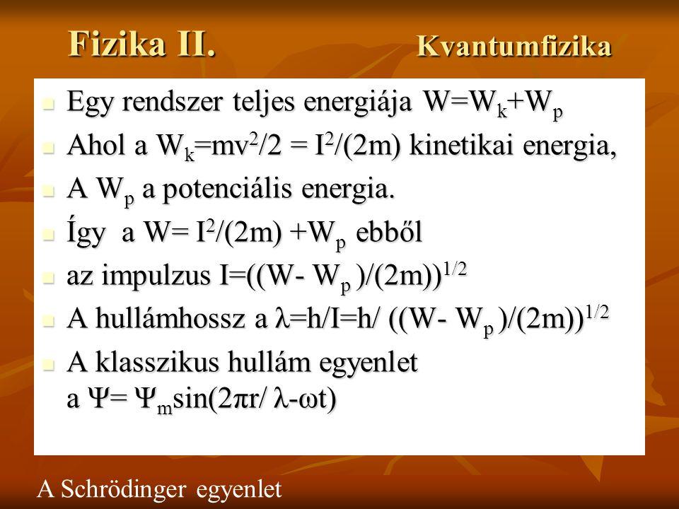 Fizika II. Kvantumfizika Egy rendszer teljes energiája W=W k +W p Egy rendszer teljes energiája W=W k +W p Ahol a W k =mv 2 /2 = I 2 /(2m) kinetikai e