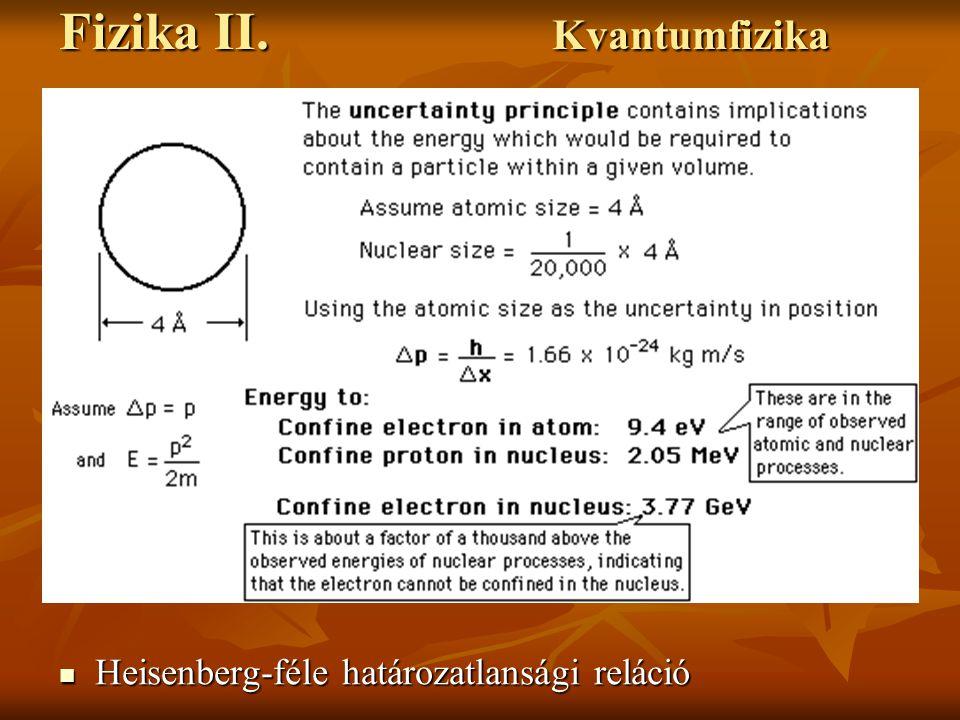 Fizika II. Kvantumfizika Heisenberg-féle határozatlansági reláció Heisenberg-féle határozatlansági reláció