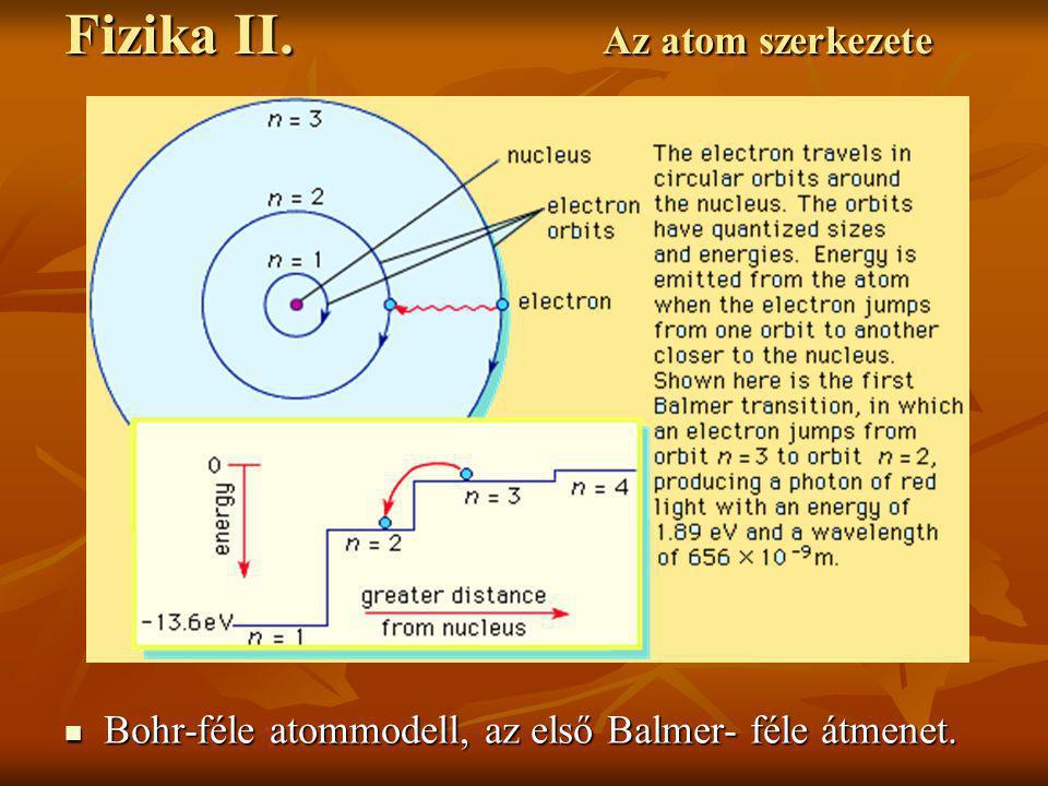Bohr-féle atommodell, az első Balmer- féle átmenet. Bohr-féle atommodell, az első Balmer- féle átmenet. Fizika II. Az atom szerkezete