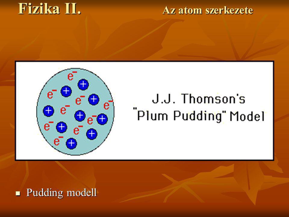 Pudding modell Pudding modell Fizika II. Az atom szerkezete