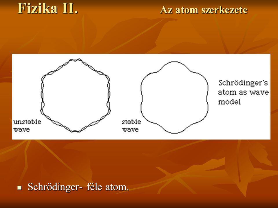Schrödinger- féle atom. Schrödinger- féle atom. Fizika II. Az atom szerkezete