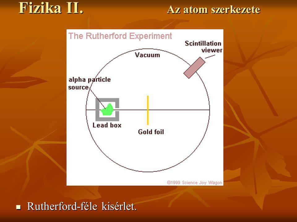 Rutherford-féle kisérlet. Rutherford-féle kisérlet. Fizika II. Az atom szerkezete
