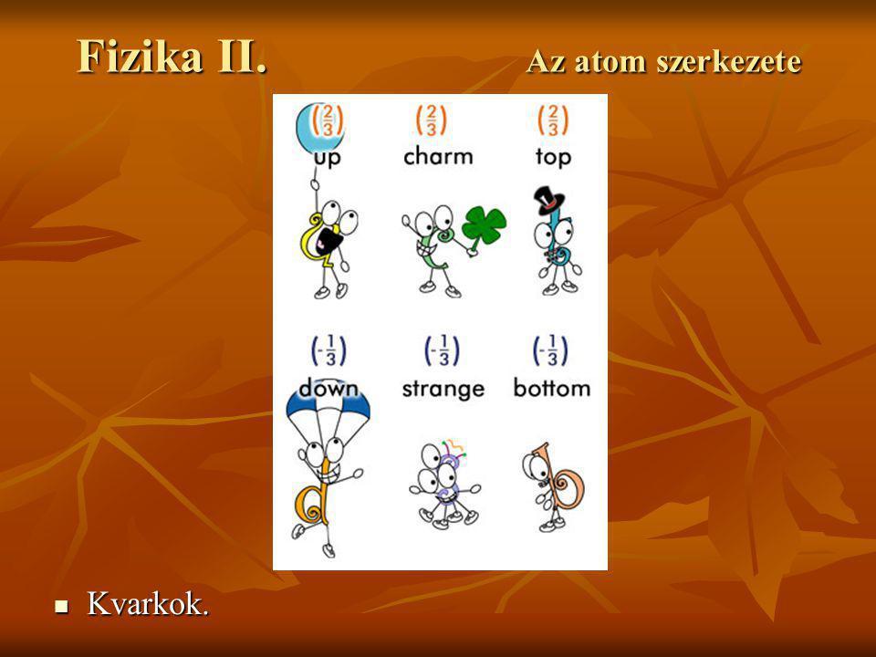 Fizika II. Az atom szerkezete Kvarkok. Kvarkok.