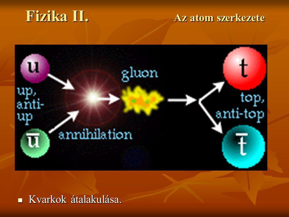 Fizika II. Az atom szerkezete Kvarkok átalakulása. Kvarkok átalakulása.