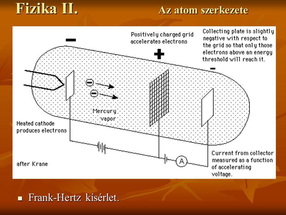 Frank-Hertz kísérlet eredménye. Frank-Hertz kísérlet eredménye. Fizika II. Az atom szerkezete