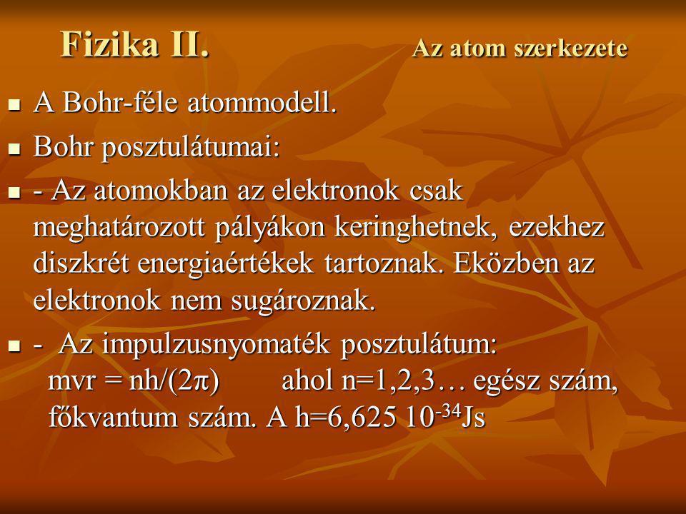 Fizika II.Az atom szerkezete A Bohr-féle atommodell.