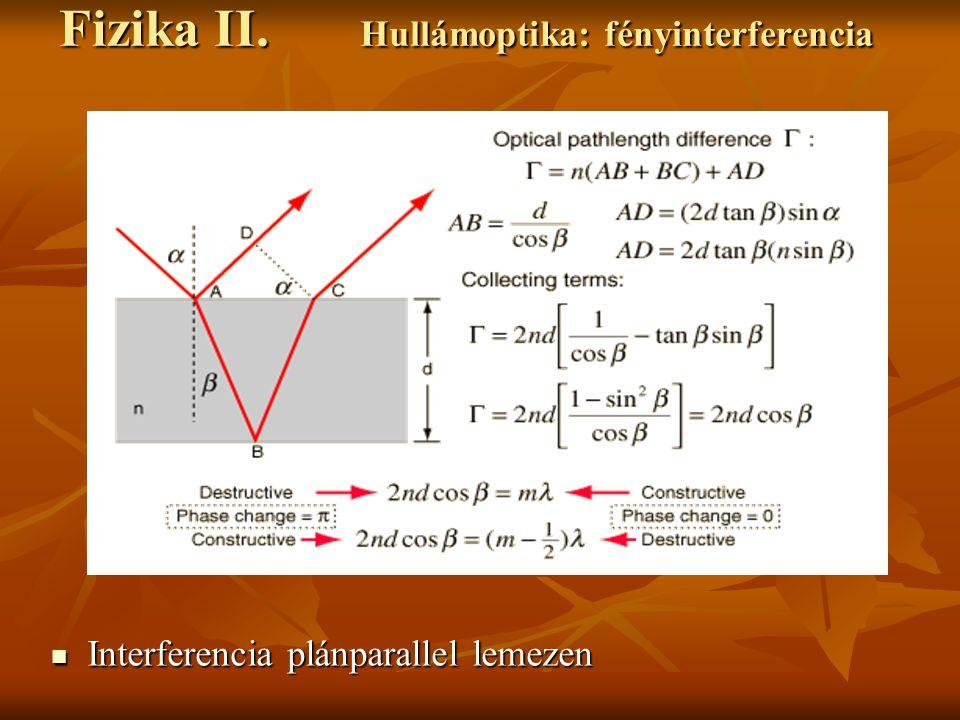 Interferencia plánparallel lemezen Interferencia plánparallel lemezen Fizika II.