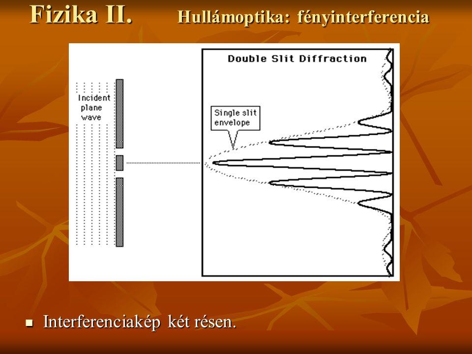 Interferenciakép két résen. Interferenciakép két résen. Fizika II. Hullámoptika: fényinterferencia