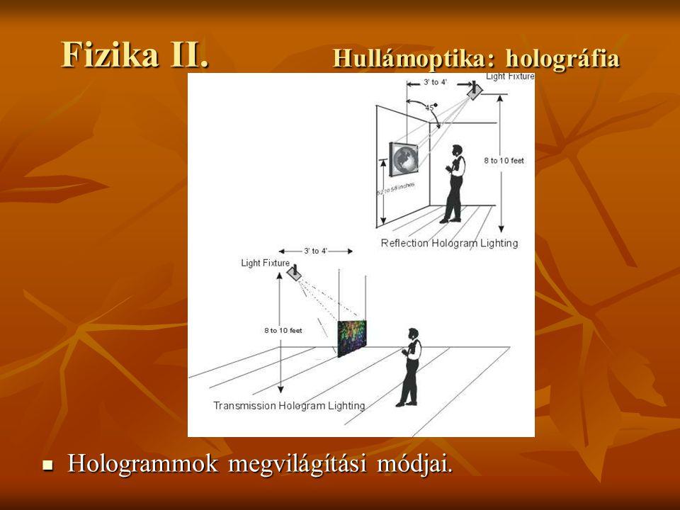 Hologrammok megvilágítási módjai. Hologrammok megvilágítási módjai.