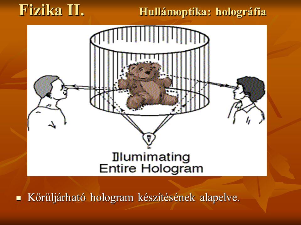 Körüljárható hologram készítésének alapelve. Körüljárható hologram készítésének alapelve. Fizika II. Hullámoptika: holográfia