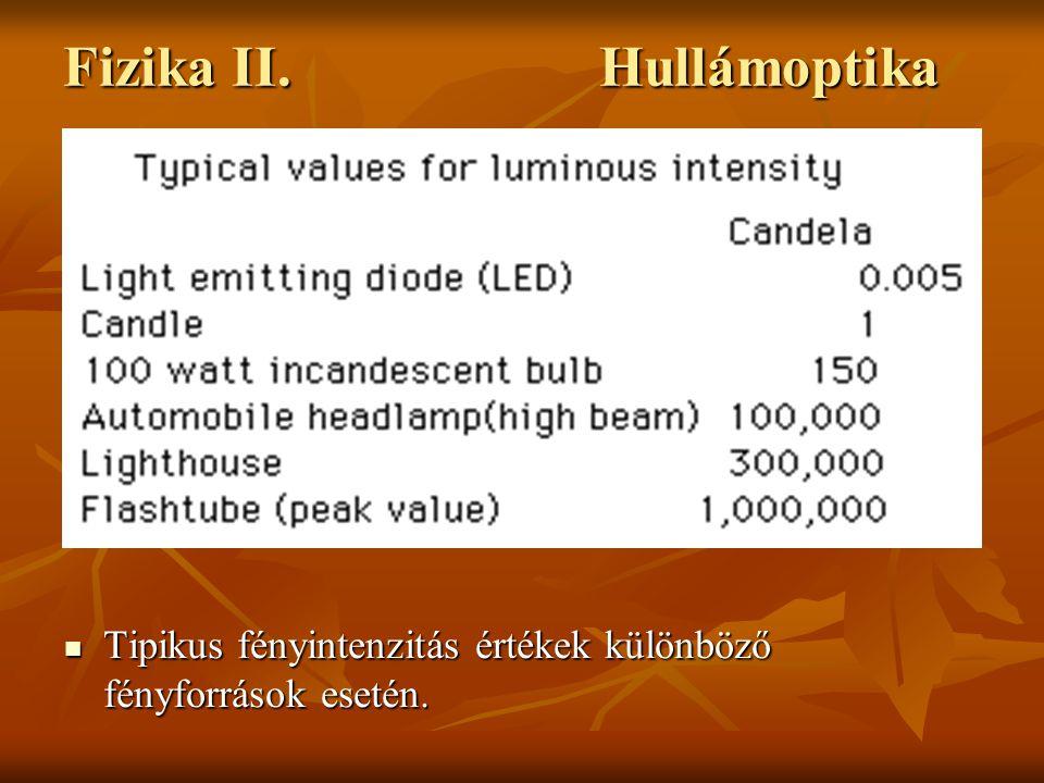 Tipikus fényintenzitás értékek különböző fényforrások esetén. Tipikus fényintenzitás értékek különböző fényforrások esetén. Fizika II. Hullámoptika