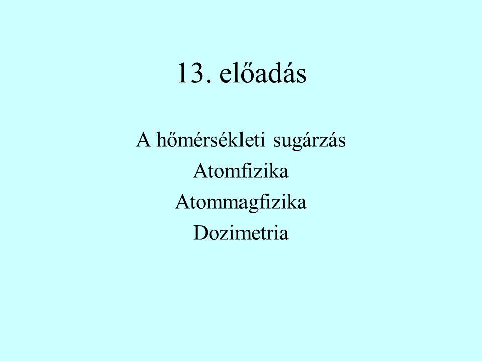 13. előadás A hőmérsékleti sugárzás Atomfizika Atommagfizika Dozimetria