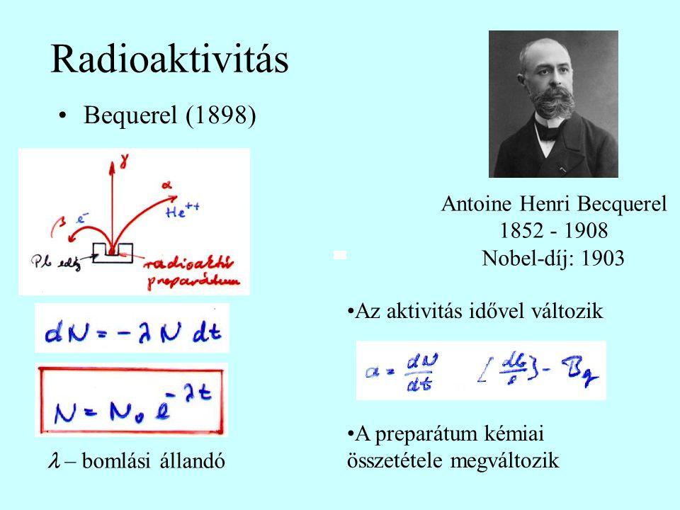 Radioaktivitás Bequerel (1898) Antoine Henri Becquerel 1852 - 1908 Nobel-díj: 1903 Az aktivitás idővel változik A preparátum kémiai összetétele megvál