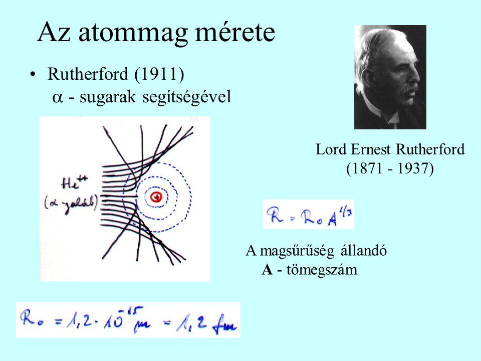 Az atommag mérete Rutherford (1911)  - sugarak segítségével Lord Ernest Rutherford (1871 - 1937) A magsűrűség állandó A - tömegszám