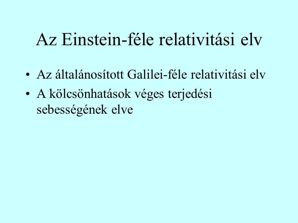 Az Einstein-féle relativitási elv Az általánosított Galilei-féle relativitási elv A kölcsönhatások véges terjedési sebességének elve