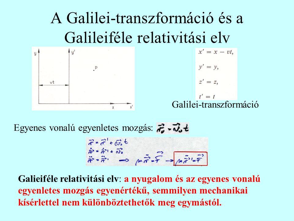 A Galilei-transzformáció és a Galileiféle relativitási elv Galilei-transzformáció Egyenes vonalú egyenletes mozgás: Galieiféle relativitási elv: a nyugalom és az egyenes vonalú egyenletes mozgás egyenértékű, semmilyen mechanikai kísérlettel nem különböztethetők meg egymástól.