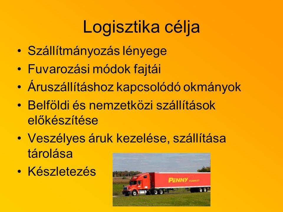 Logisztika célja Szállítmányozás lényege Fuvarozási módok fajtái Áruszállításhoz kapcsolódó okmányok Belföldi és nemzetközi szállítások előkészítése Veszélyes áruk kezelése, szállítása tárolása Készletezés