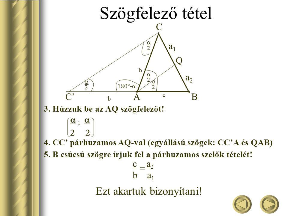 Szögfelező tétel Bármely háromszögben egy belső szög felezője a szemközti oldalt a szomszédos oldalak arányában osztja. Bizonyítsuk be: b AC' b B C c