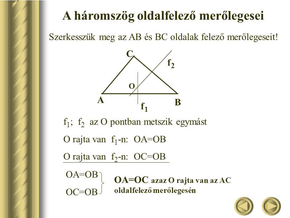 A háromszög súlyvonalai Bizonyítás: Kössük össze F1 F1 és F2F2 oldalfelező pontokat.