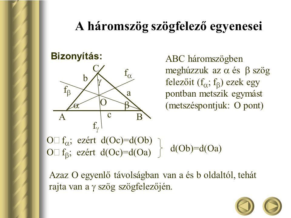 A háromszög szögfelező egyenesei Bizonyítás: ABC háromszögben meghúzzuk az  és  szög felezőit (f   f   ezek egy pontban metszik egymást (metszéspontjuk: O pont) AB C c ff a ff b ff O  f   ezért d(Oc)=d(Ob)  f   ezért d(Oc)=d(Oa) d(Ob)=d(Oa) Azaz O egyenlő távolságban van a és b oldaltól, tehát rajta van a  szög szögfelezőjén.