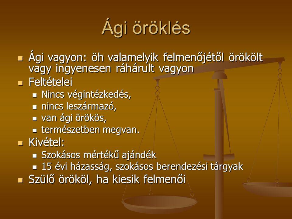 Ági öröklés Ági vagyon: öh valamelyik felmenőjétől örökölt vagy ingyenesen ráhárult vagyon Ági vagyon: öh valamelyik felmenőjétől örökölt vagy ingyene