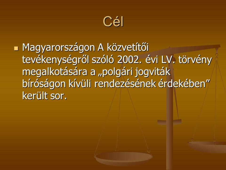 """Cél Magyarországon A közvetítői tevékenységről szóló 2002. évi LV. törvény megalkotására a """"polgári jogviták bíróságon kívüli rendezésének érdekében"""""""