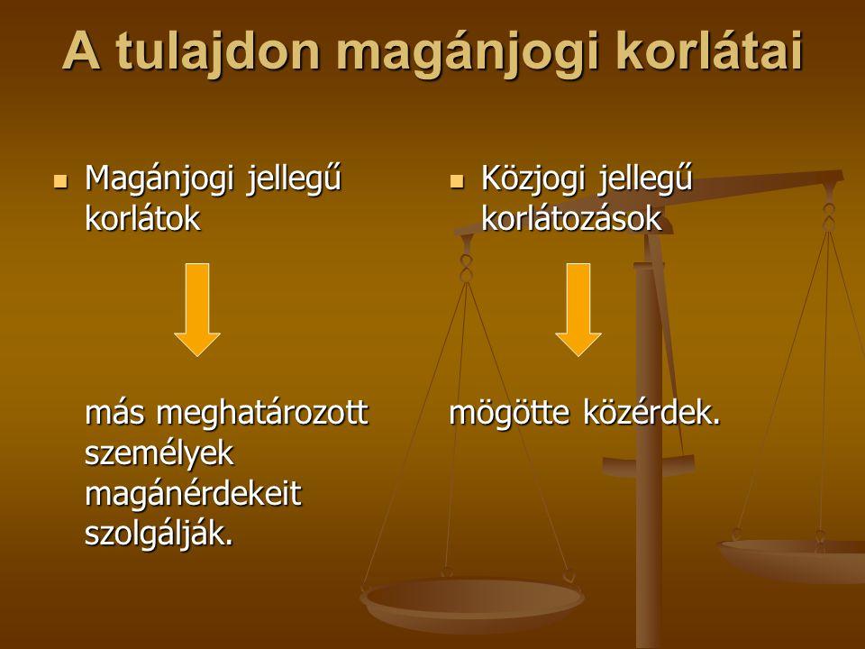 A tulajdon magánjogi korlátai Magánjogi jellegű korlátok Magánjogi jellegű korlátok más meghatározott személyek magánérdekeit szolgálják. Közjogi jell