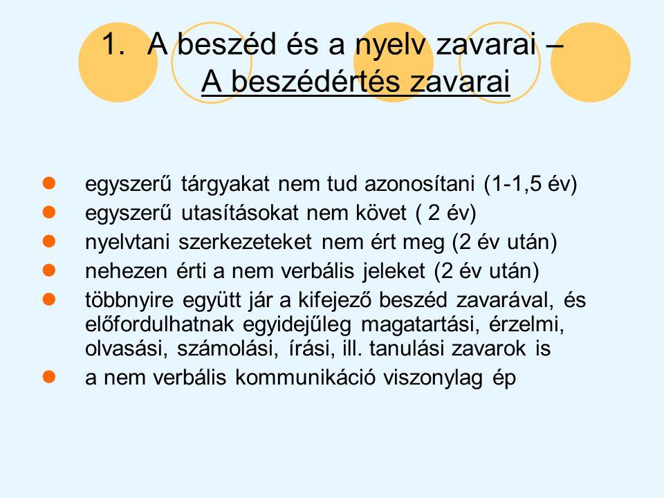 1.A beszéd és a nyelv zavarai – A beszédértés zavarai egyszerű tárgyakat nem tud azonosítani (1-1,5 év) egyszerű utasításokat nem követ ( 2 év) nyelvt