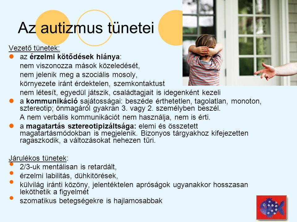 Az autizmus tünetei Vezető tünetek: az érzelmi kötődések hiánya: nem viszonozza mások közeledését, nem jelenik meg a szociális mosoly, környezete irán