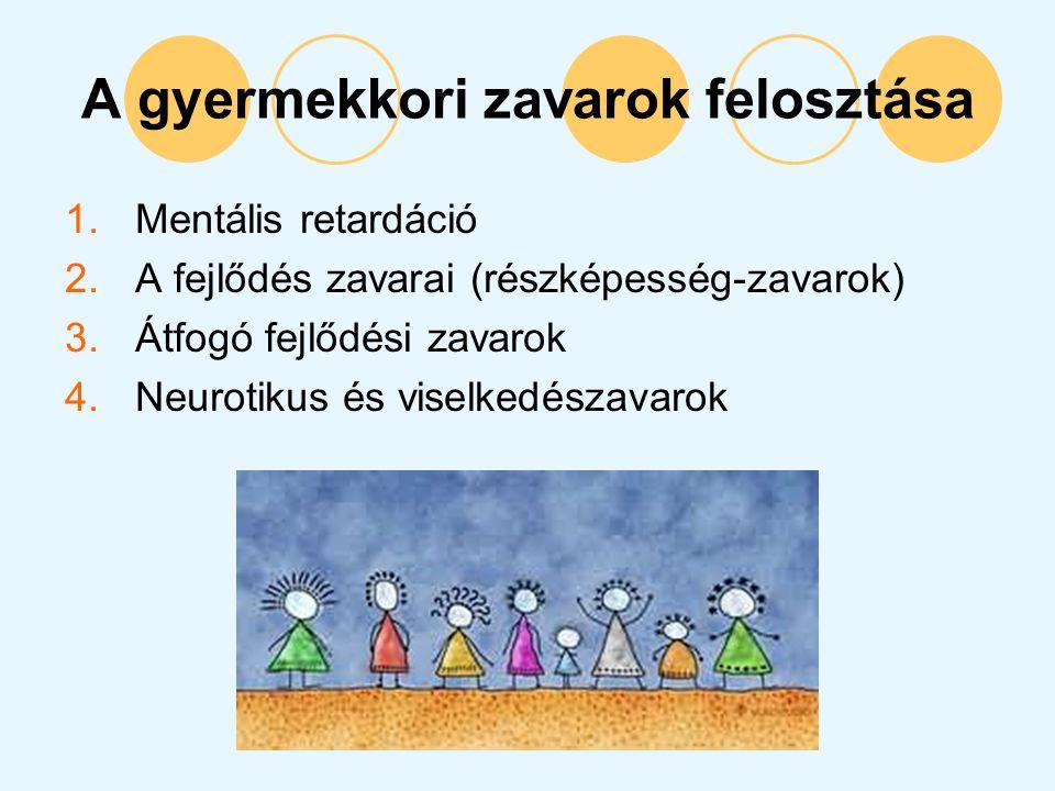 A gyermekkori zavarok felosztása 1.Mentális retardáció 2.A fejlődés zavarai (részképesség-zavarok) 3.Átfogó fejlődési zavarok 4.Neurotikus és viselked