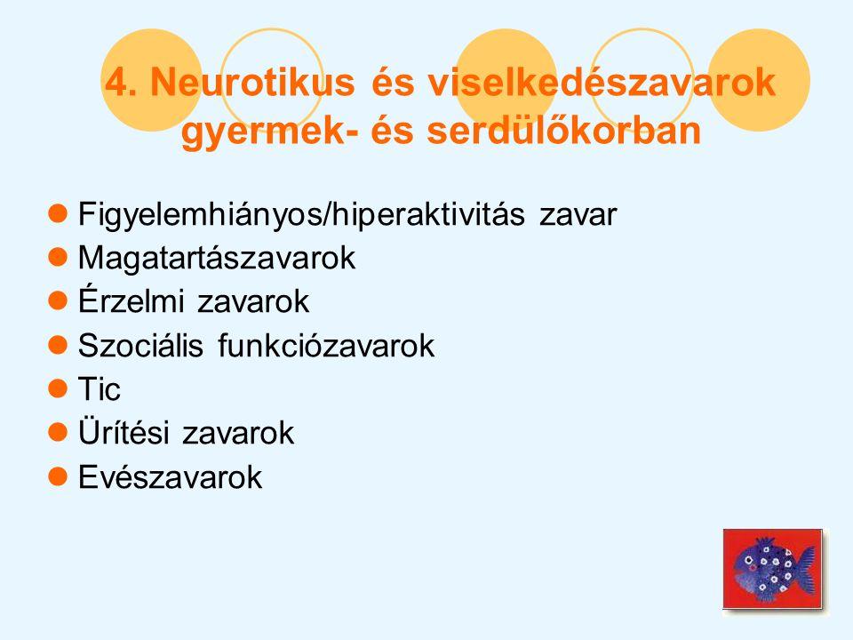 4. Neurotikus és viselkedészavarok gyermek- és serdülőkorban Figyelemhiányos/hiperaktivitás zavar Magatartászavarok Érzelmi zavarok Szociális funkcióz