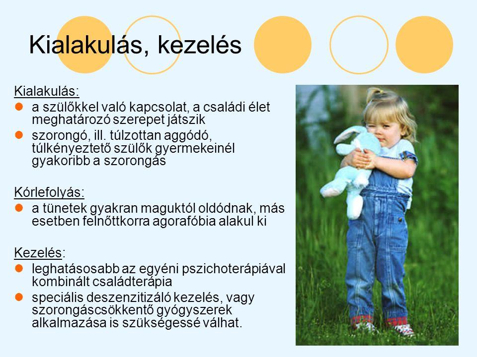 Kialakulás, kezelés Kialakulás: a szülőkkel való kapcsolat, a családi élet meghatározó szerepet játszik szorongó, ill. túlzottan aggódó, túlkényeztető