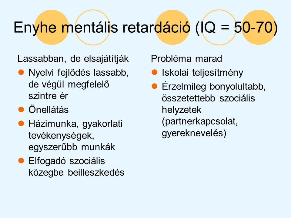 Enyhe mentális retardáció (IQ = 50-70) Lassabban, de elsajátítják Nyelvi fejlődés lassabb, de végül megfelelő szintre ér Önellátás Házimunka, gyakorla
