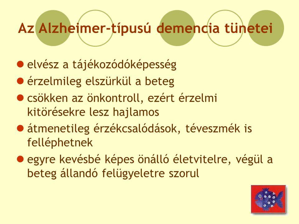 Az Alzheimer-típusú demencia tünetei elvész a tájékozódóképesség érzelmileg elszürkül a beteg csökken az önkontroll, ezért érzelmi kitörésekre lesz ha
