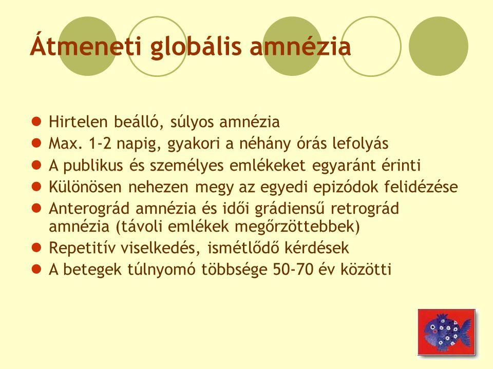 Átmeneti globális amnézia Hirtelen beálló, súlyos amnézia Max. 1-2 napig, gyakori a néhány órás lefolyás A publikus és személyes emlékeket egyaránt ér