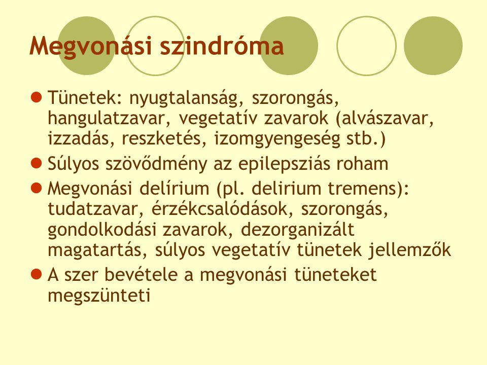 Megvonási szindróma Tünetek: nyugtalanság, szorongás, hangulatzavar, vegetatív zavarok (alvászavar, izzadás, reszketés, izomgyengeség stb.) Súlyos szö