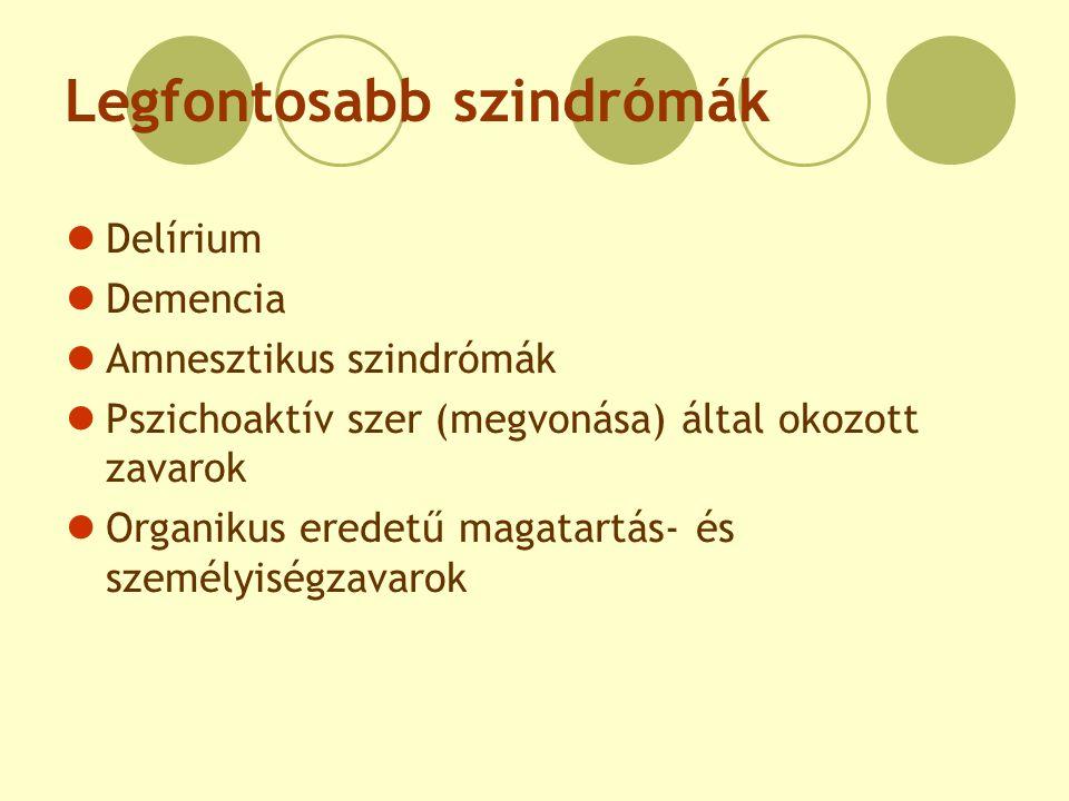 Legfontosabb szindrómák Delírium Demencia Amnesztikus szindrómák Pszichoaktív szer (megvonása) által okozott zavarok Organikus eredetű magatartás- és