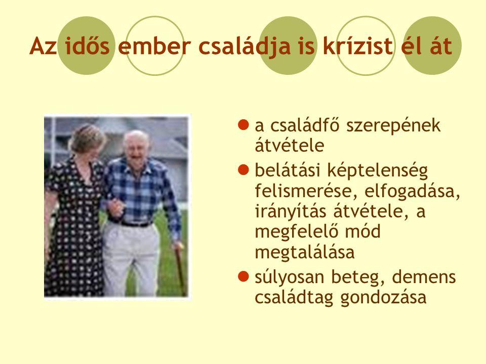 Az idős ember családja is krízist él át a családfő szerepének átvétele belátási képtelenség felismerése, elfogadása, irányítás átvétele, a megfelelő m